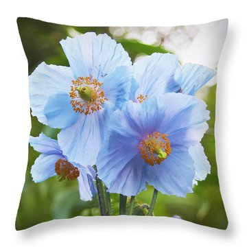 Blue Poppy Throw Pillow