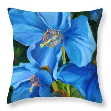 Blue Poppy Throw Pillow by Renate Nadi Wesley