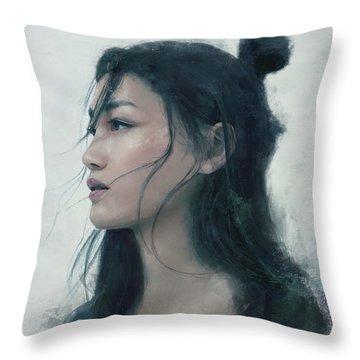 Blue Portrait Throw Pillow