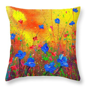 Blue Posies II Throw Pillow