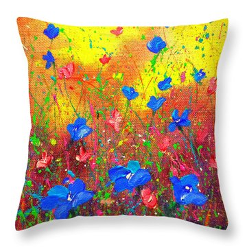Blue Posies Throw Pillow