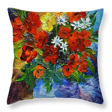 Blue Pot Floral Throw Pillow by Mary Jo Zorad