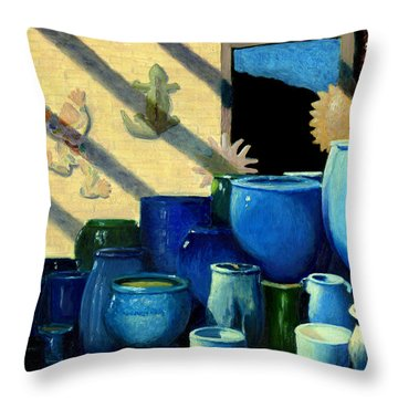 Blue Pots Throw Pillow