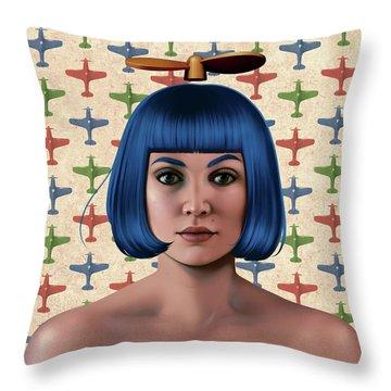 Blue Propeller Gal Throw Pillow