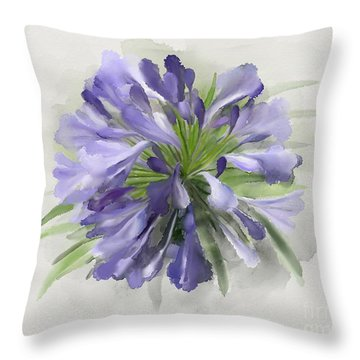 Blue Purple Flowers Throw Pillow