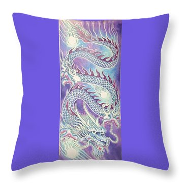 Blue Purple Japanese Dragon Throw Pillow