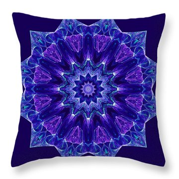 Blue And Purple Mandala Fractal Throw Pillow