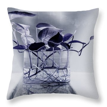 Blue Throw Pillow by Rajiv Chopra