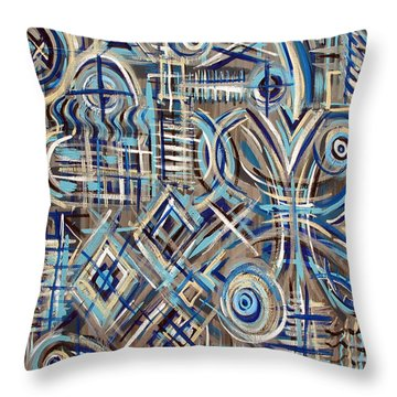 Blue Raucous Throw Pillow