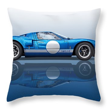 Blue Reflections - Ford Gt40 Throw Pillow