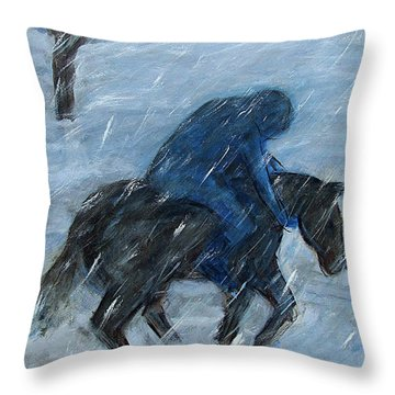 Blue Rider On Horse Throw Pillow