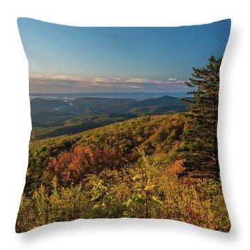 Blue Ridge Mountain Autumn Vista Throw Pillow