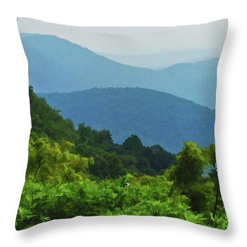 Blue Ridge Mountain Layers Throw Pillow