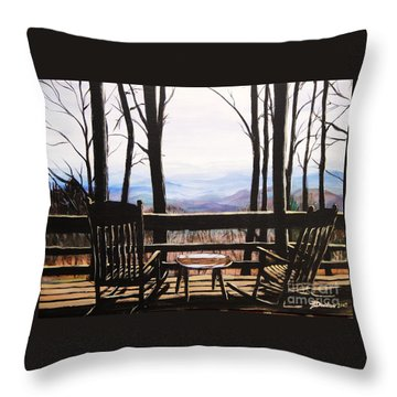 Throw Pillow featuring the painting Blue Ridge Mountain Porch View by Patricia L Davidson