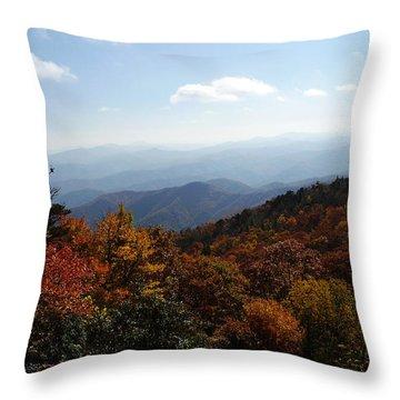 Blue Ridge Mountains Throw Pillow by Flavia Westerwelle
