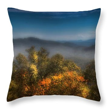 Throw Pillow featuring the photograph Blue Ridge Panorama by Ellen Heaverlo