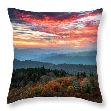 Blue Ridge Parkway Autumn Sunset Scenic Landscape Asheville Nc Throw Pillow