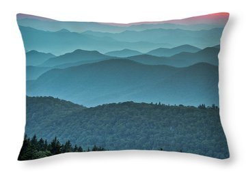 Blue Ridge Parkway Sunset - The Great Blue Yonder Throw Pillow by Dave Allen