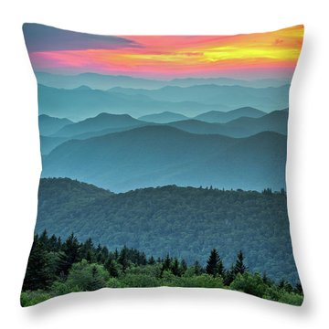 Blue Ridge Parkway Sunset - The Great Blue Yonder Throw Pillow