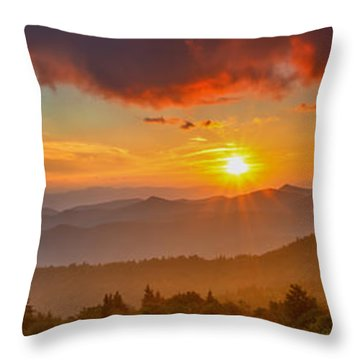 Blue Ridge Sunset Pano Throw Pillow