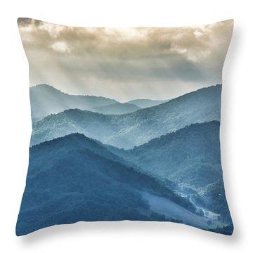 Blue Ridge Sunset Rays Throw Pillow