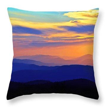 Blue Ridge Sunset, Virginia Throw Pillow