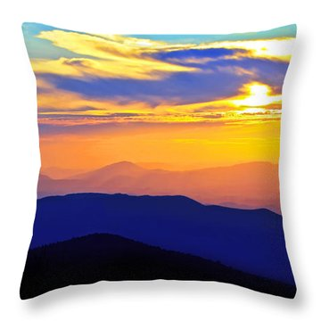 Blue Ridge Sunset, Virginia Throw Pillow