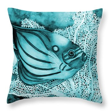 Blue Ring Angelfish On Blue Throw Pillow