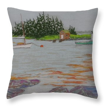 Blue Rocks In The Fog And Rain Throw Pillow