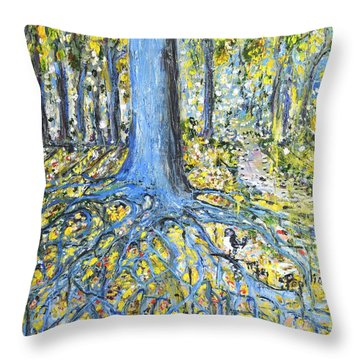 Blue Roots Throw Pillow by Evelina Popilian