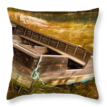 Blue Rope, Barter's Island, Maine Throw Pillow by Dave Higgins
