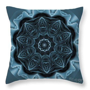 Blue Rose Mandala Throw Pillow