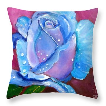 Blue Rose With Dew Drops Throw Pillow