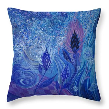 Blue Rosebud Ballroom Throw Pillow