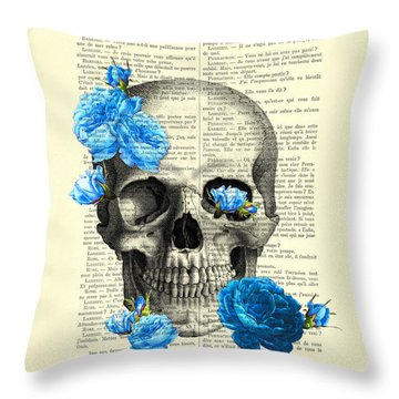 Blue Roses With Skull Art Print Throw Pillow