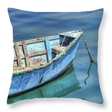 Blue Rowboat At Port San Luis 2 Throw Pillow
