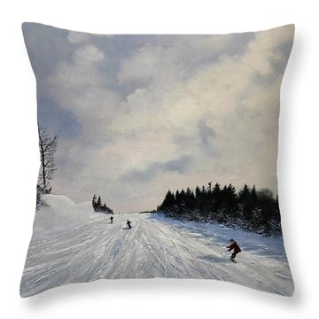 Throw Pillow featuring the painting Blue Run by Ken Ahlering