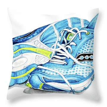 Blue Running Shoes Throw Pillow by Heidi Kriel
