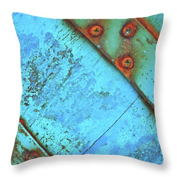 Blue Rusty Boat Detail Throw Pillow