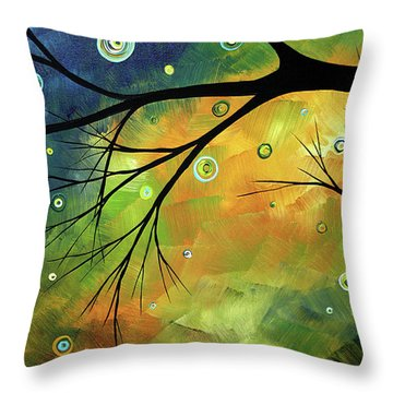 Blue Sapphire 2 By Madart Throw Pillow by Megan Duncanson