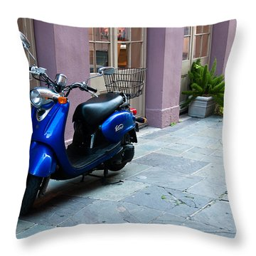 Blue Scooter Throw Pillow