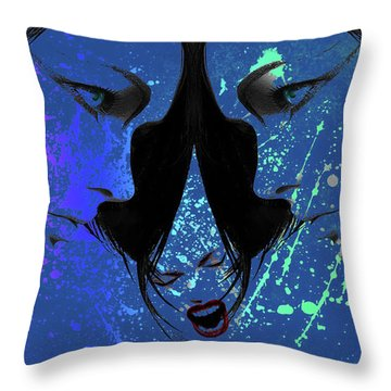 Throw Pillow featuring the digital art Blue Screamer by Greg Sharpe