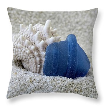 Blue Sea Glass And Seashell  Throw Pillow