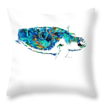 Blue Sea Turtle By Sharon Cummings  Throw Pillow by Sharon Cummings