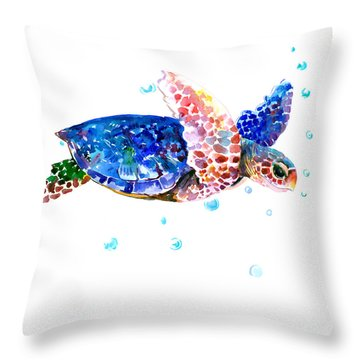 Blue Sea Turtle Throw Pillow