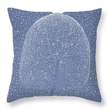 Blue Shadow Tree Throw Pillow
