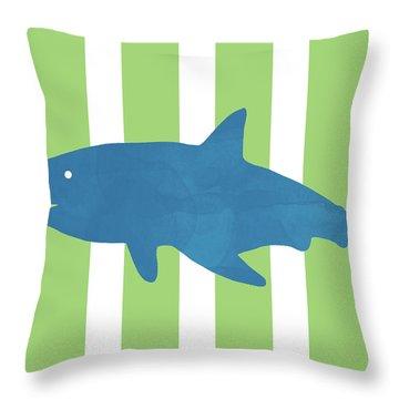 Blue Shark 1- Art By Linda Woods Throw Pillow