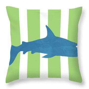 Blue Shark 2- Art By Linda Woods Throw Pillow