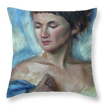 Blue Shawl Throw Pillow