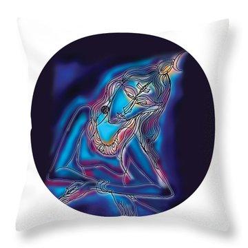 Blue Shiva Light Throw Pillow